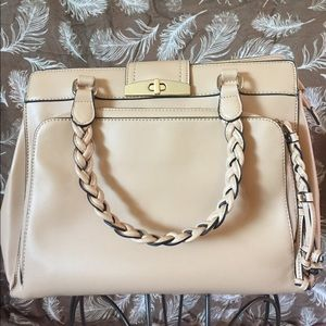 JUSTFAB Nude Faux Leather Braided Satchel